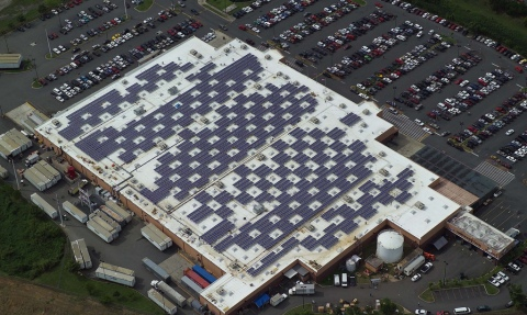 One of five Walmart facilities equipped with solar panels in Puerto Rico. One of Walmart's broad sustainability goals is to be powered by 100% renewable energy.